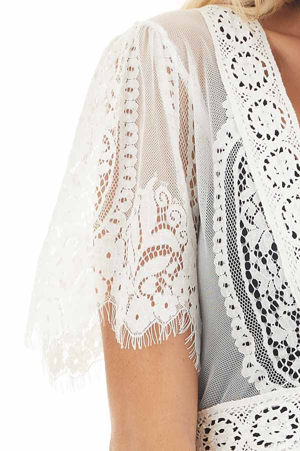 Ivory Lace Kimono with Button Closure and Ruffle Detail detail