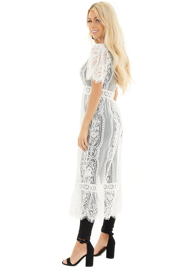 Ivory Lace Kimono with Button Closure and Ruffle Detail side full body
