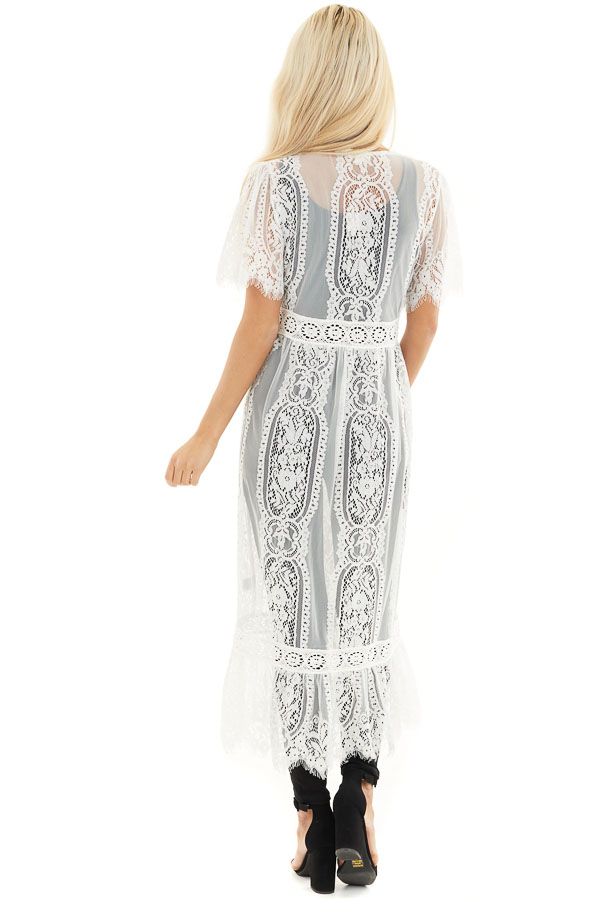Ivory Lace Kimono with Button Closure and Ruffle Detail back full body