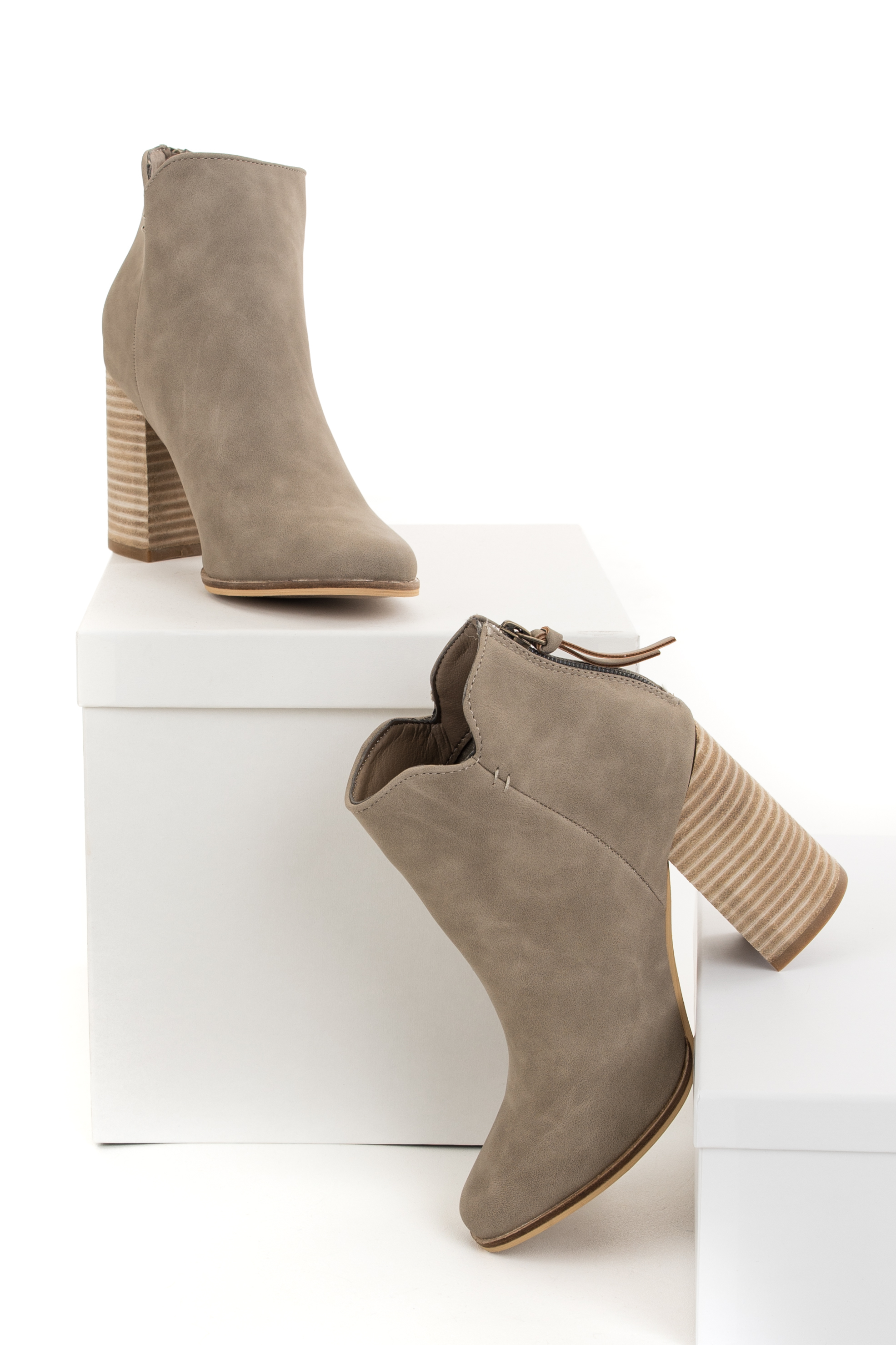 Latte Faux Suede Heeled Bootie with Tassel Detail