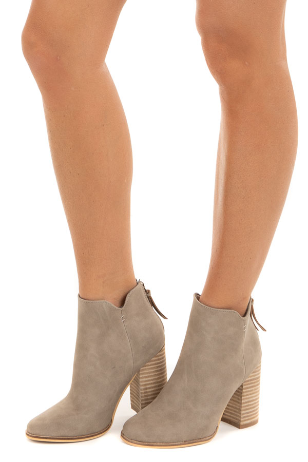 Latte Faux Suede Heeled Bootie with Tassel Detail side view