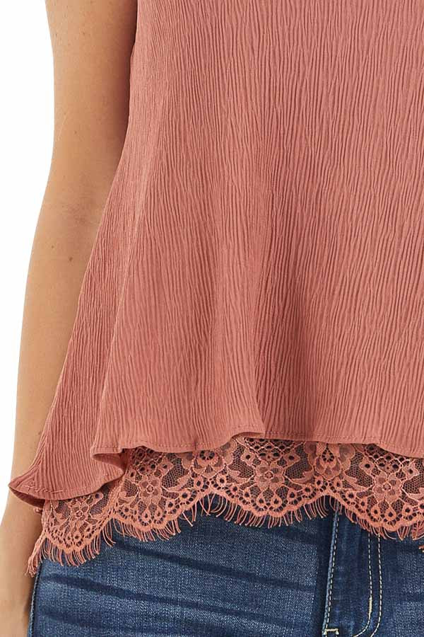 Dusty Rose Sleeveless Camisole Top with Lace Trim detail