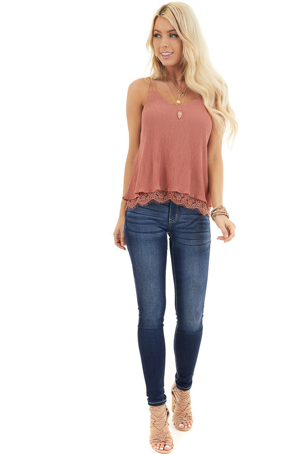 Dusty Rose Sleeveless Camisole Top with Lace Trim front full body