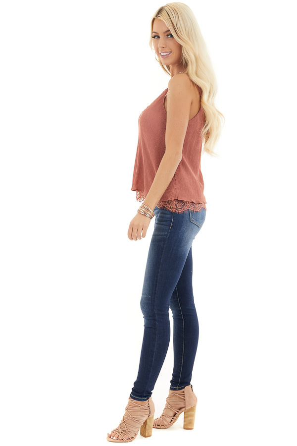 Dusty Rose Sleeveless Camisole Top with Lace Trim side full body