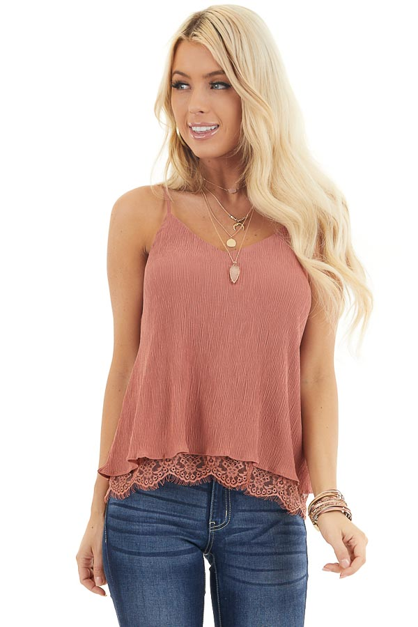 Dusty Rose Sleeveless Camisole Top with Lace Trim front close up