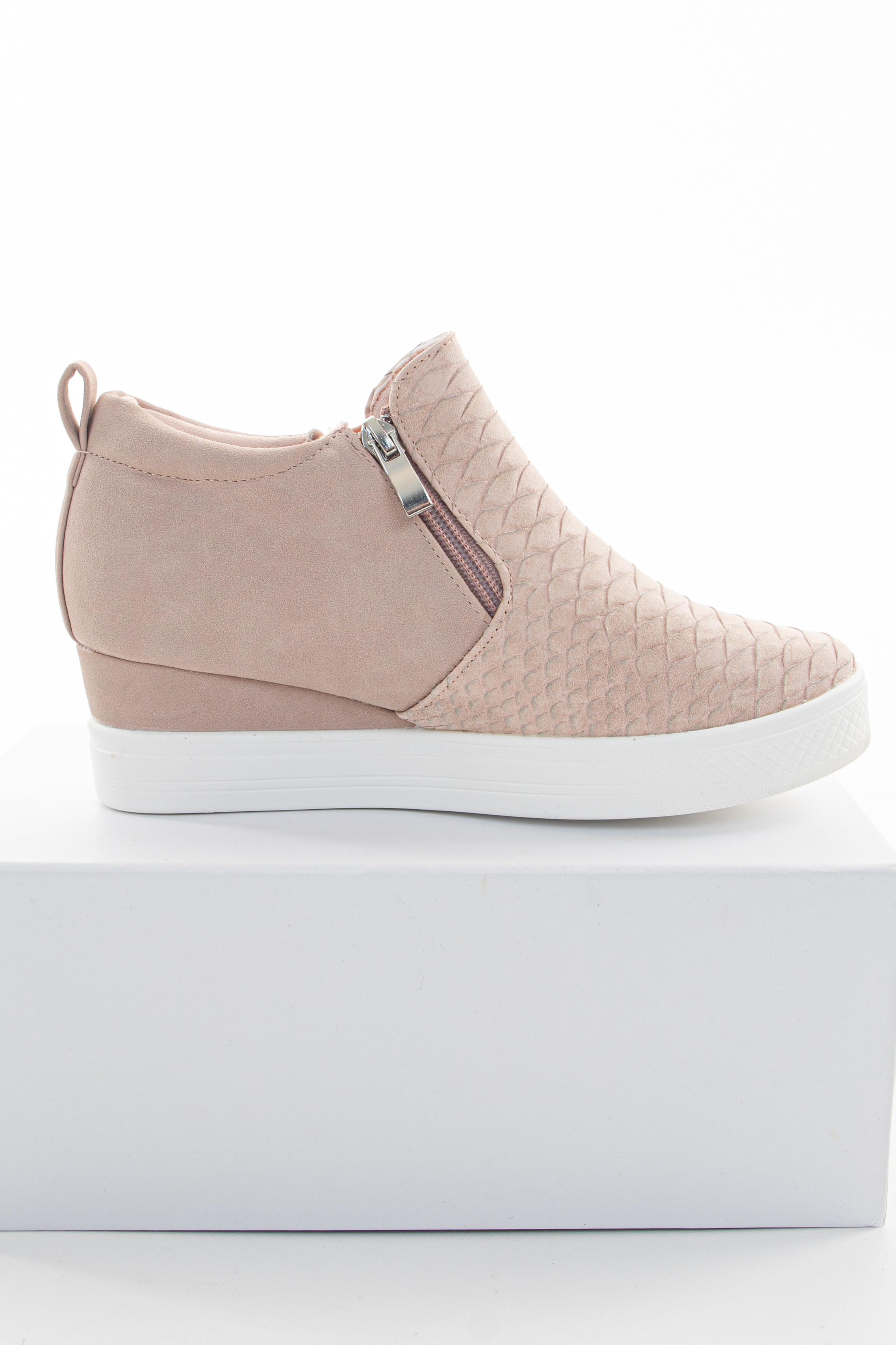 Blush Textured Sneaker Wedges with White Rubber Sole