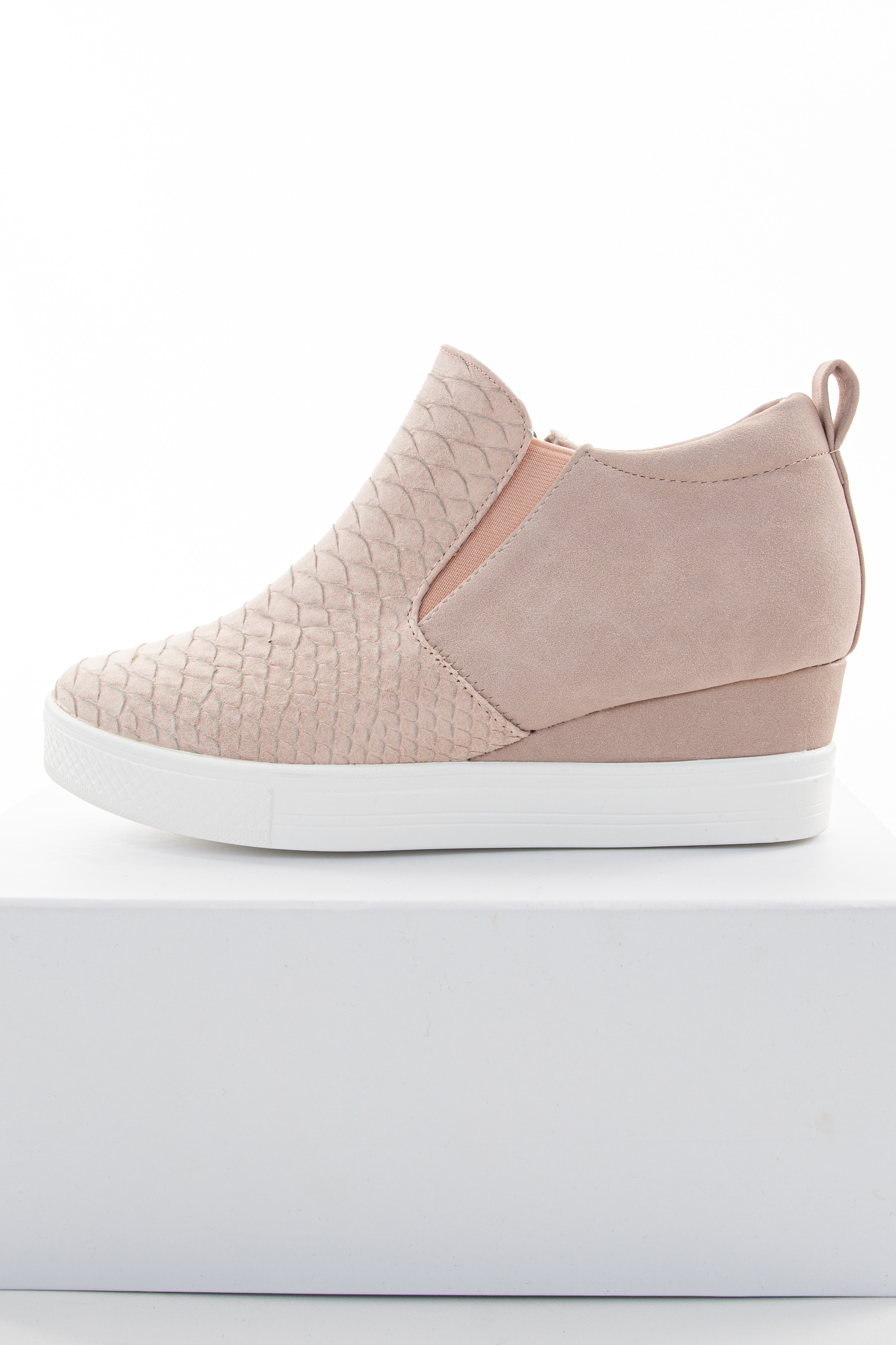 Blush Textured Sneaker Wedges with