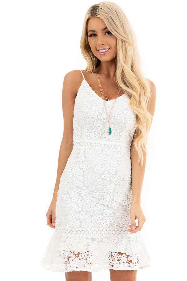 White Lace Short Tank Dress with Ruffle Hemline front close up