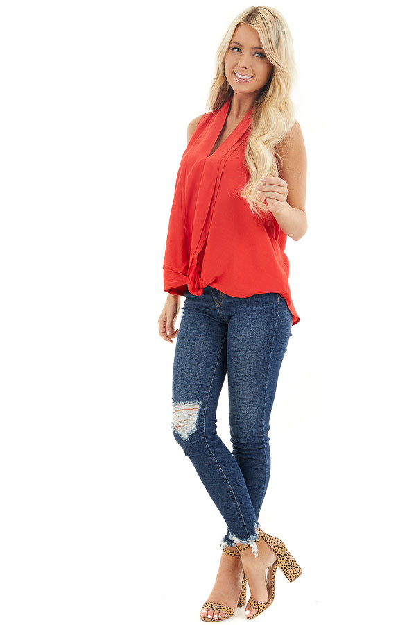 Tomato Red Sleeveless V Neck Blouse with Front Twist front full body