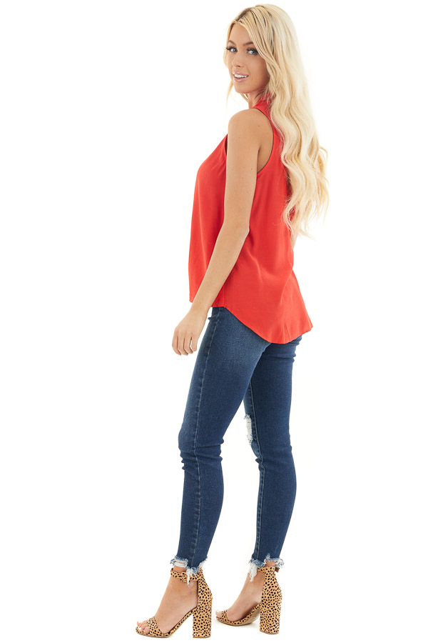 Tomato Red Sleeveless V Neck Blouse with Front Twist side full body