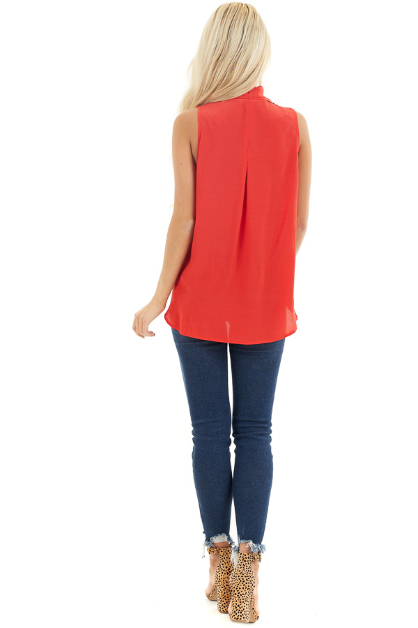 Tomato Red Sleeveless V Neck Blouse with Front Twist back full body