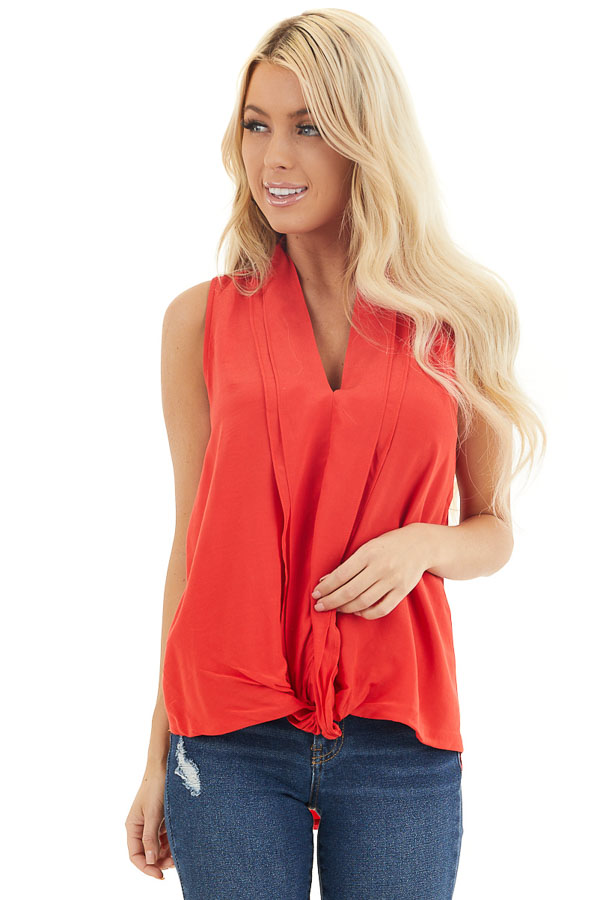 Tomato Red Sleeveless V Neck Blouse with Front Twist front close up