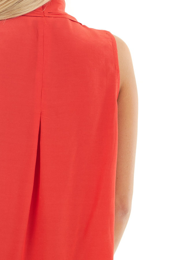 Tomato Red Sleeveless V Neck Blouse with Front Twist detail