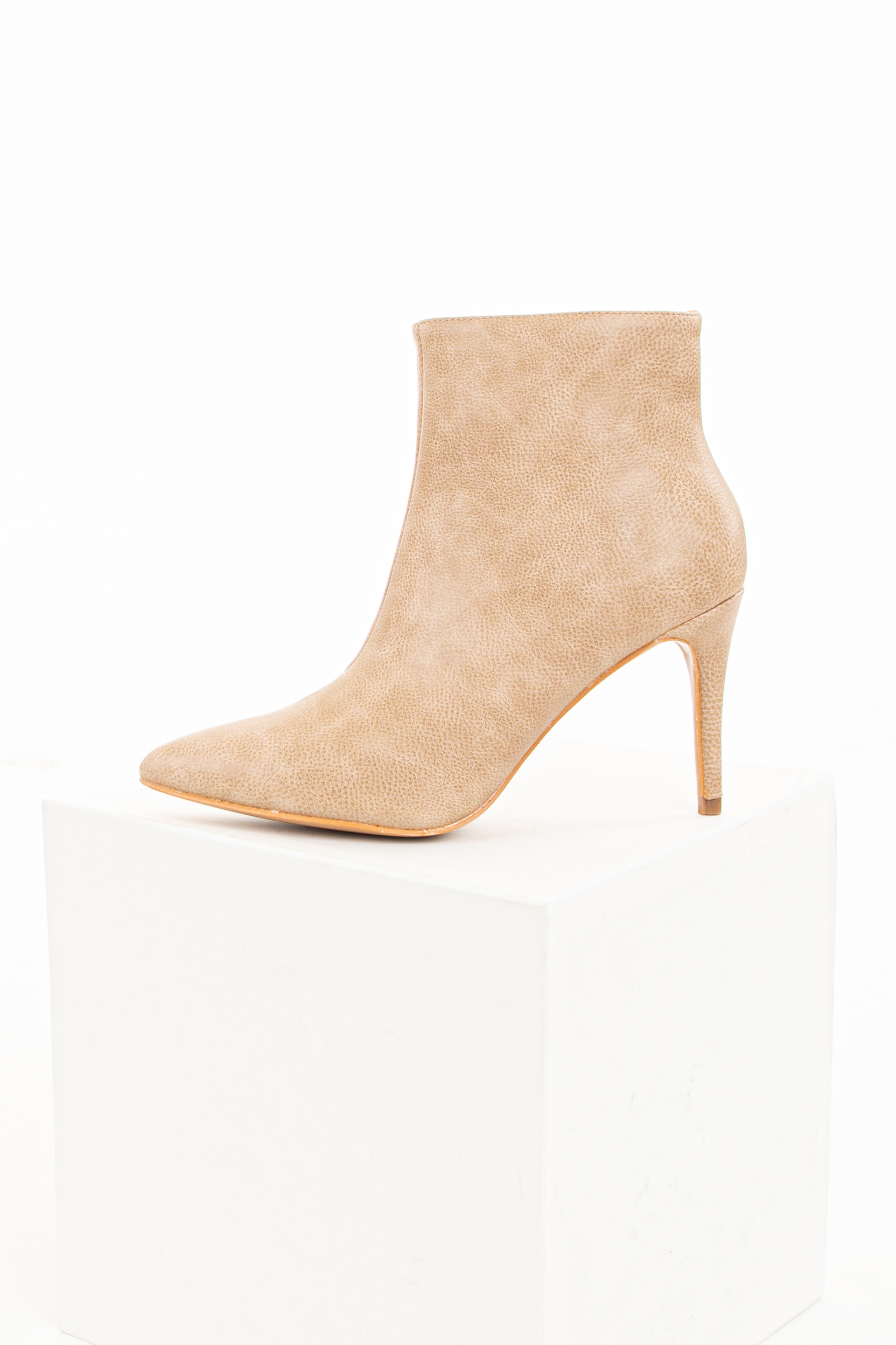 Beige Faux Leather Heeled Booties with Pointed Toe