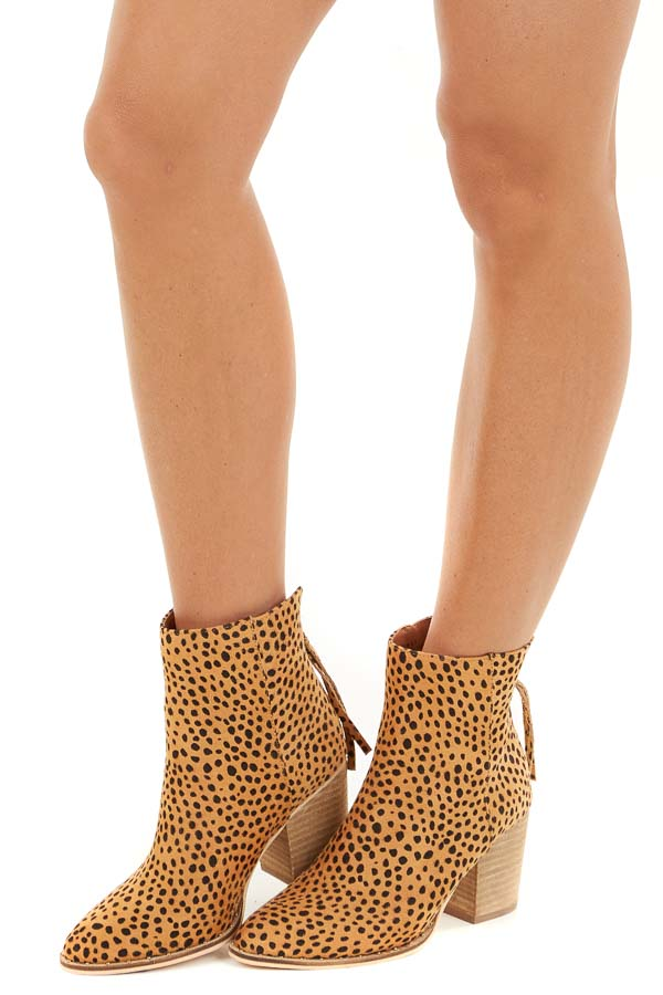 Rich Sand Faux Suede Cheetah Print Booties with Stud Detail side view