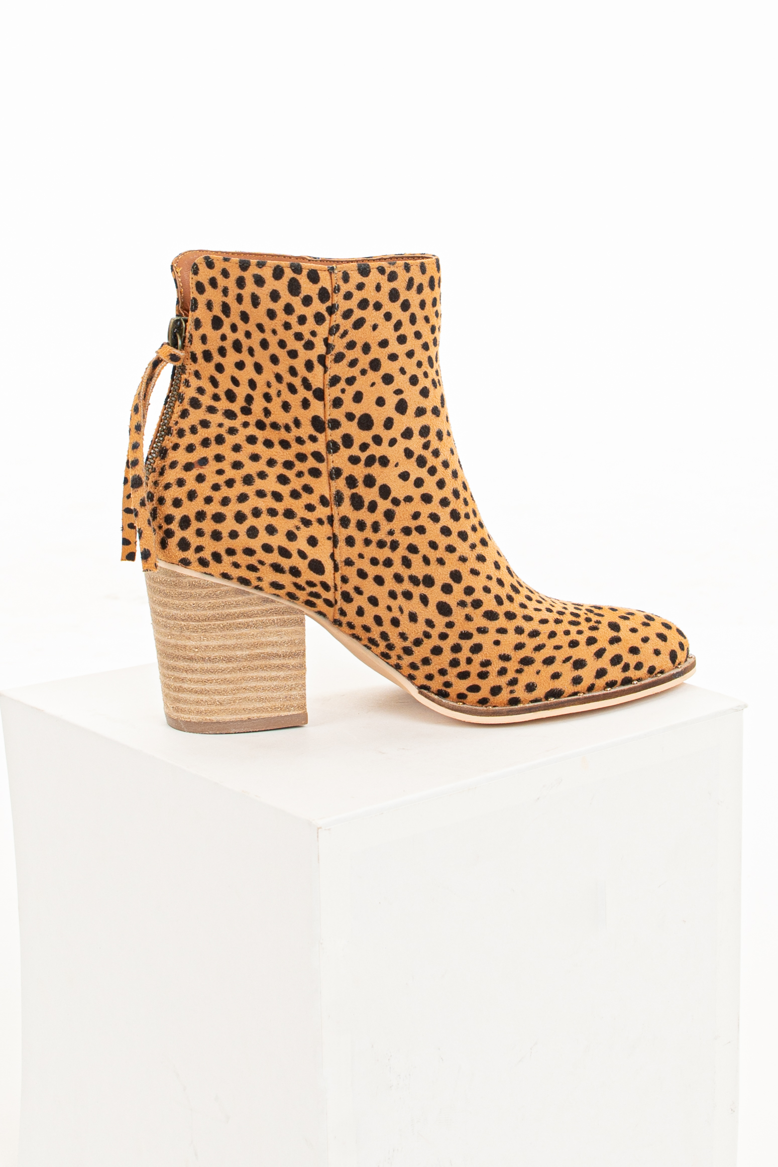 Rich Sand Faux Suede Cheetah Print Booties with Stud Detail