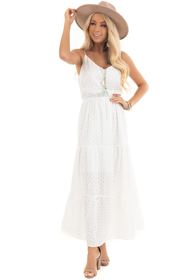 Ivory Textured Spaghetti Strap Maxi Dress with Elastic Waist front full body