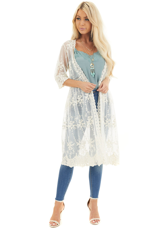 Champagne Open Front Lace Kimono with Waist Tie front full body