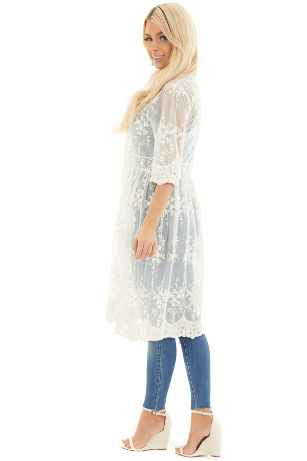 Champagne Open Front Lace Kimono with Waist Tie side full body