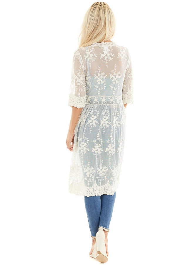 Champagne Open Front Lace Kimono with Waist Tie back full body