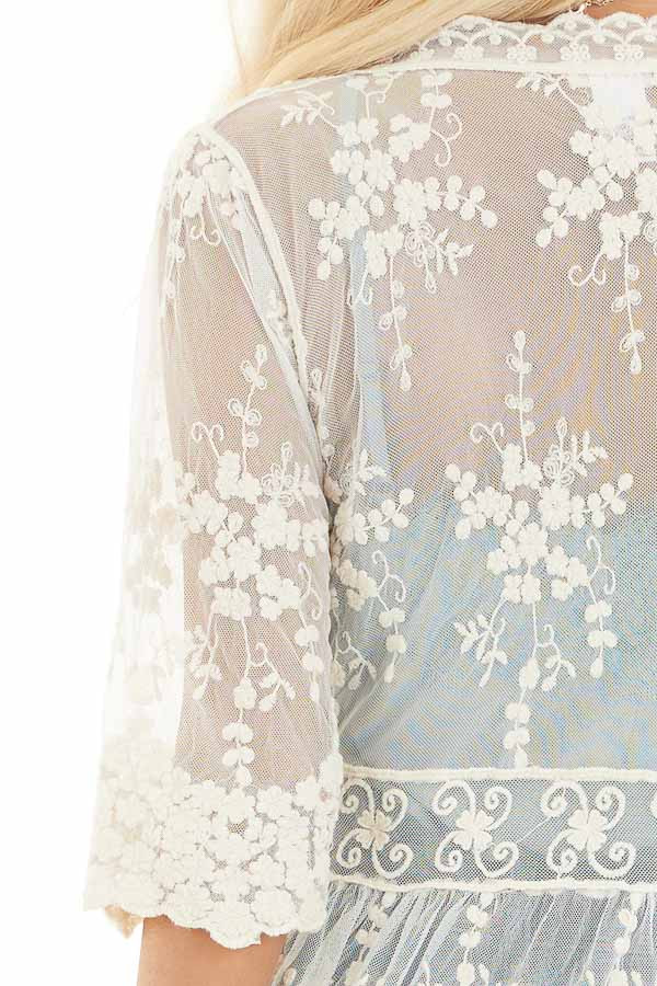 Champagne Open Front Lace Kimono with Waist Tie detail