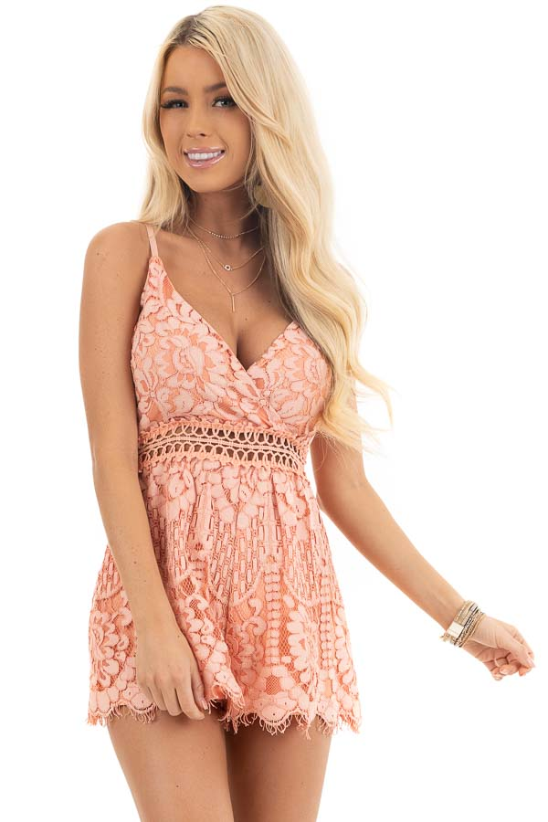 Peach Sleeveless V Neck Romper with Sheer Lace Details front close up