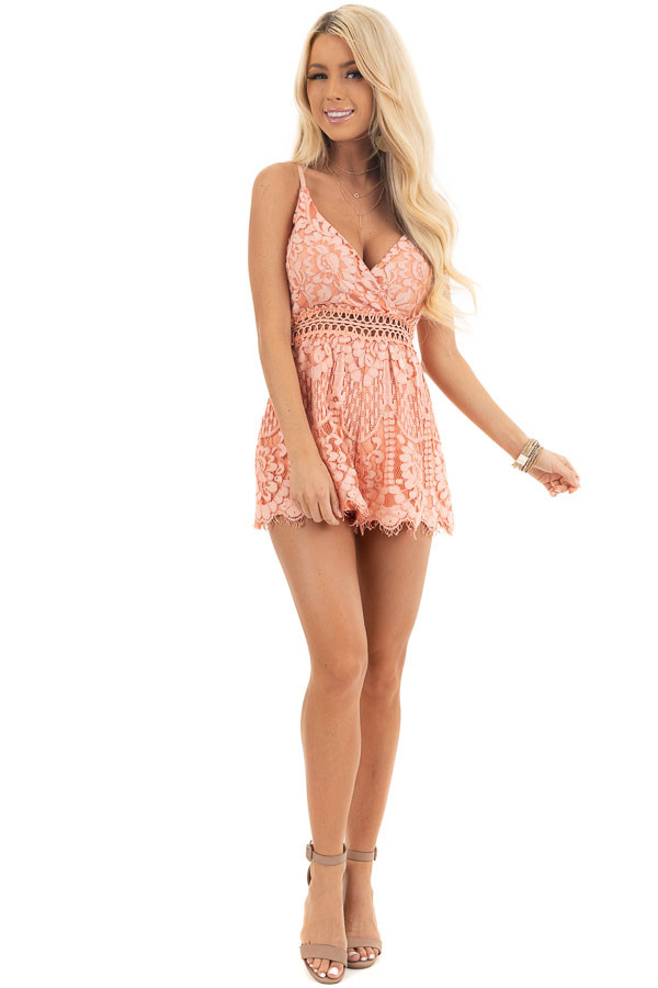Peach Sleeveless V Neck Romper with Sheer Lace Details front full body