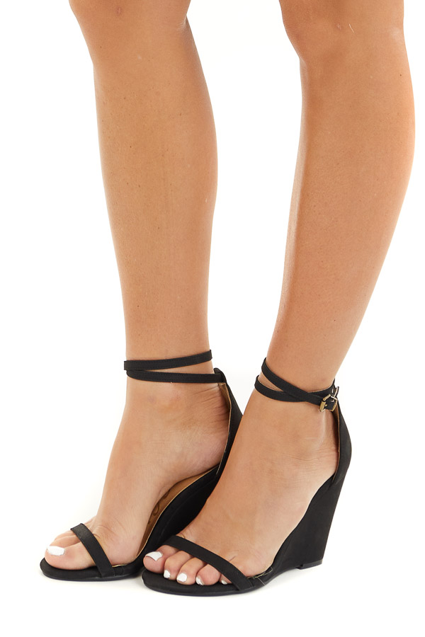 Black Faux Suede Wedge Sandals with Adjustable Dual Strap side view