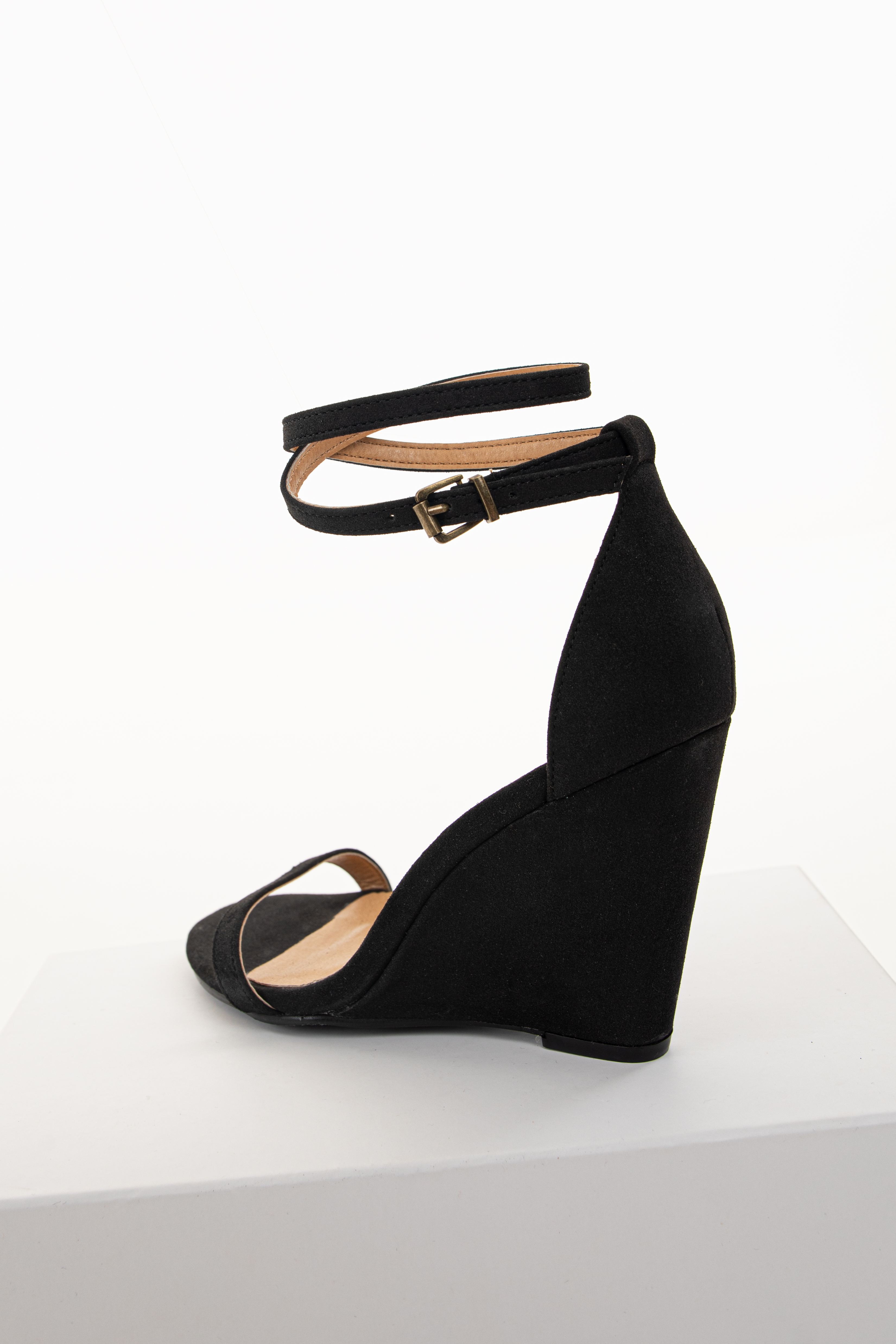 Black Faux Suede Wedge Sandals with Adjustable Dual Strap