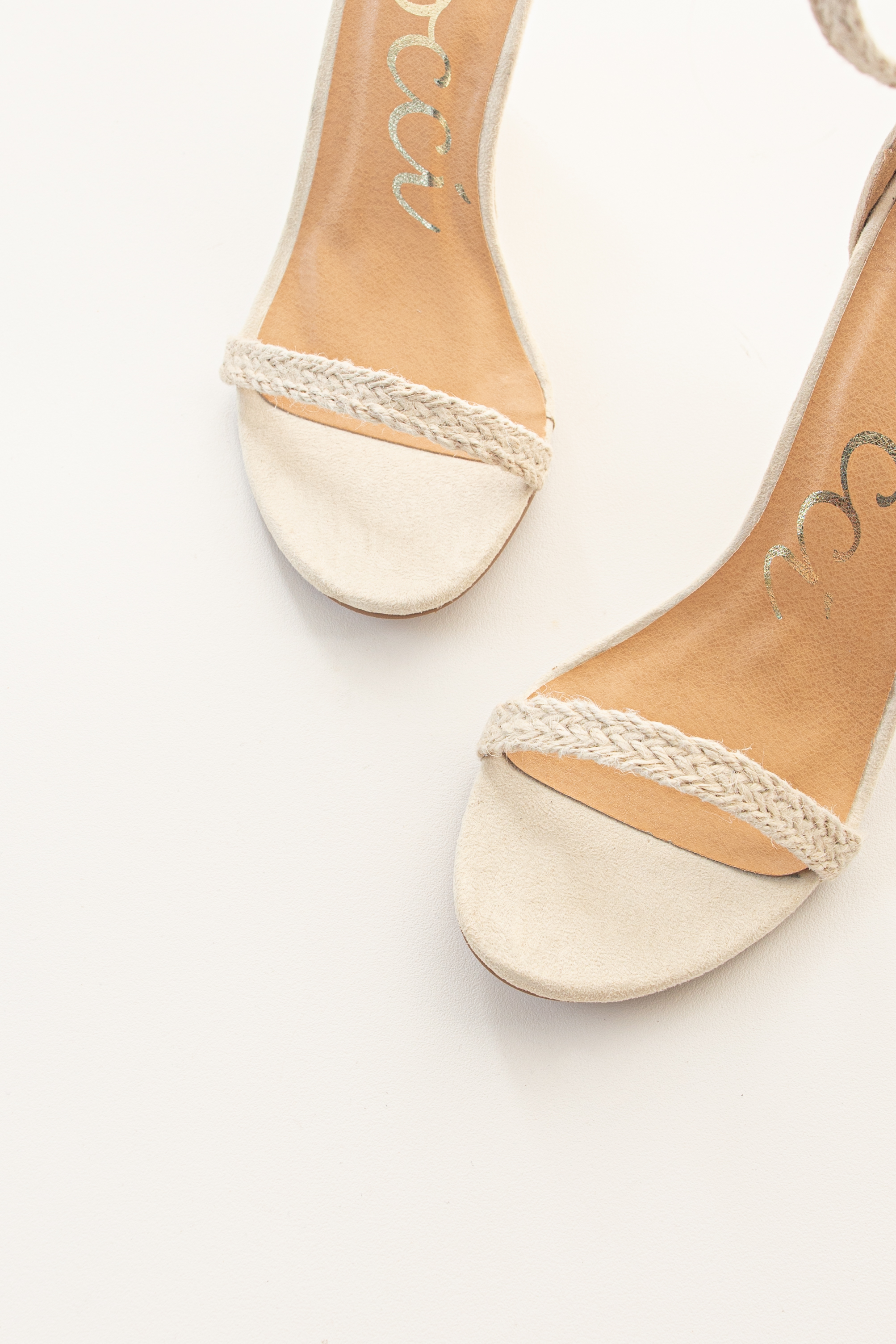 Ivory Faux Suede Wedge Sandals with Adjustable Dual Strap