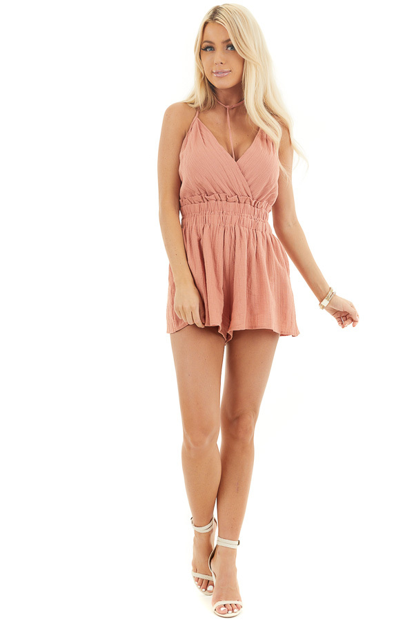 Tawny Sleeveless Romper with Ruffle and Choker Strap Detail front full body