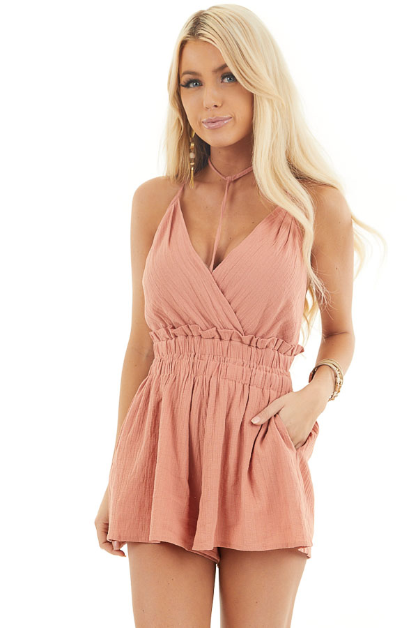 Tawny Sleeveless Romper with Ruffle and Choker Strap Detail front close up