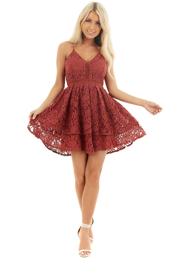 Cherry Sleeveless V Neck Mini Dress with Sheer Lace Details front full body
