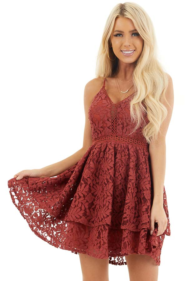 Cherry Sleeveless V Neck Mini Dress with Sheer Lace Details front close up
