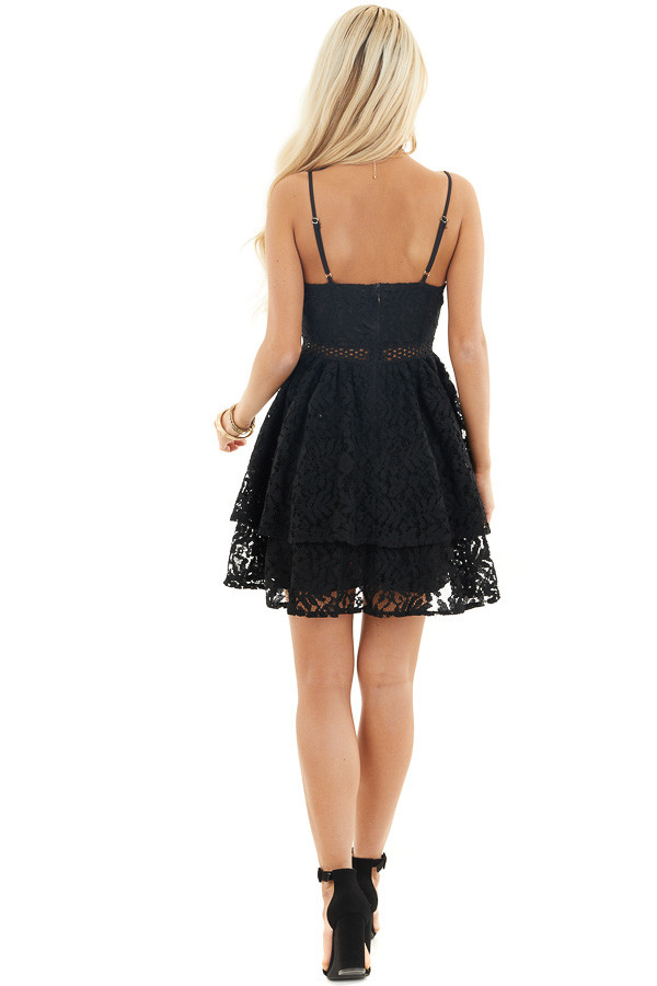 Black Sleeveless V Neck Mini Dress with Sheer Lace Details back full body