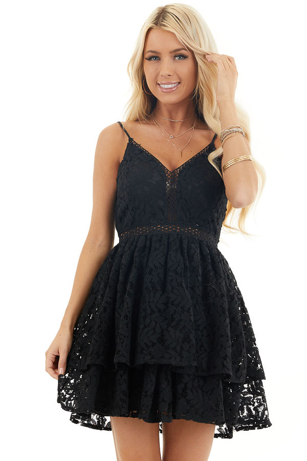 Black Sleeveless V Neck Mini Dress with Sheer Lace Details front close up