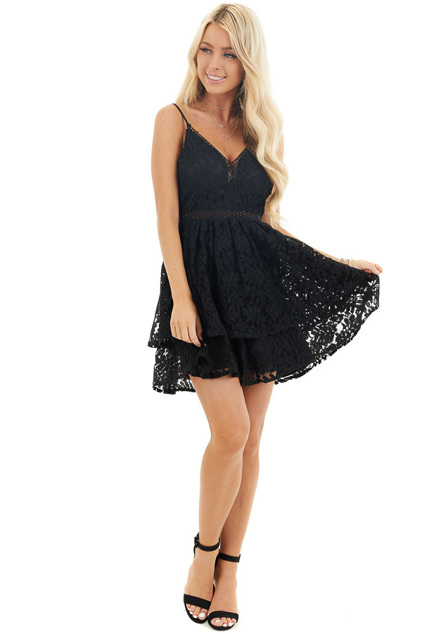 Black Sleeveless V Neck Mini Dress with Sheer Lace Details front full body