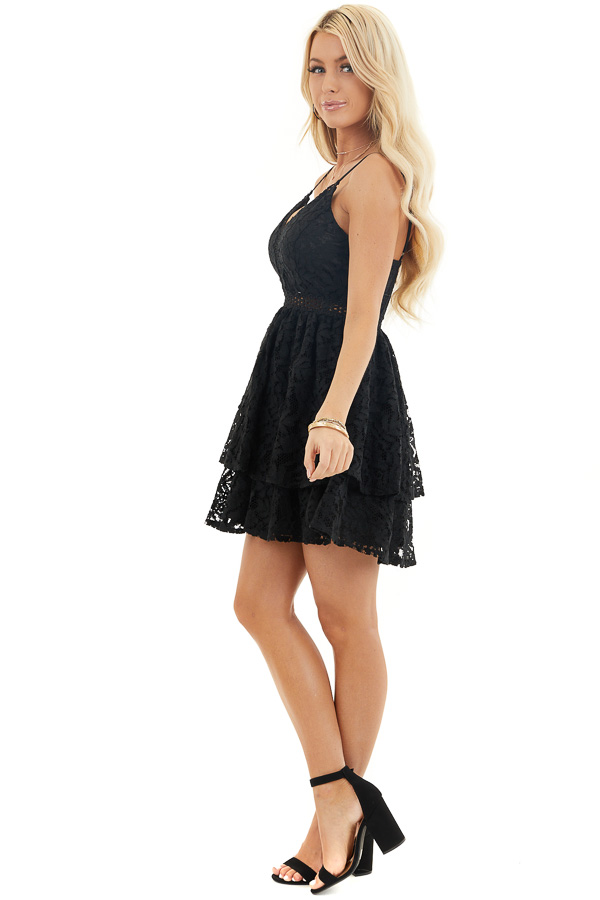 Black Sleeveless V Neck Mini Dress with Sheer Lace Details side full body