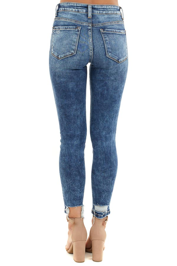 Medium Wash Button Up High Waisted Distressed Skinny Jeans back view