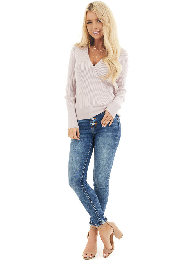 Medium Wash Button Up High Waisted Distressed Skinny Jeans front full body