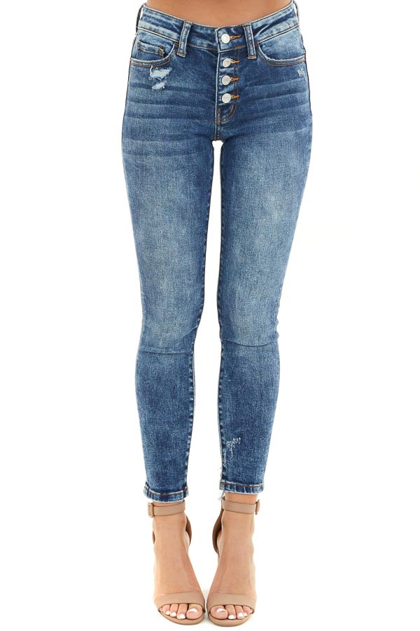 Medium Wash Button Up High Waisted Distressed Skinny Jeans front view