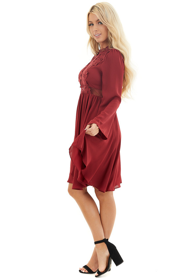 Burgundy Long Sleeve Dress with Sheer Lace Detail side full body