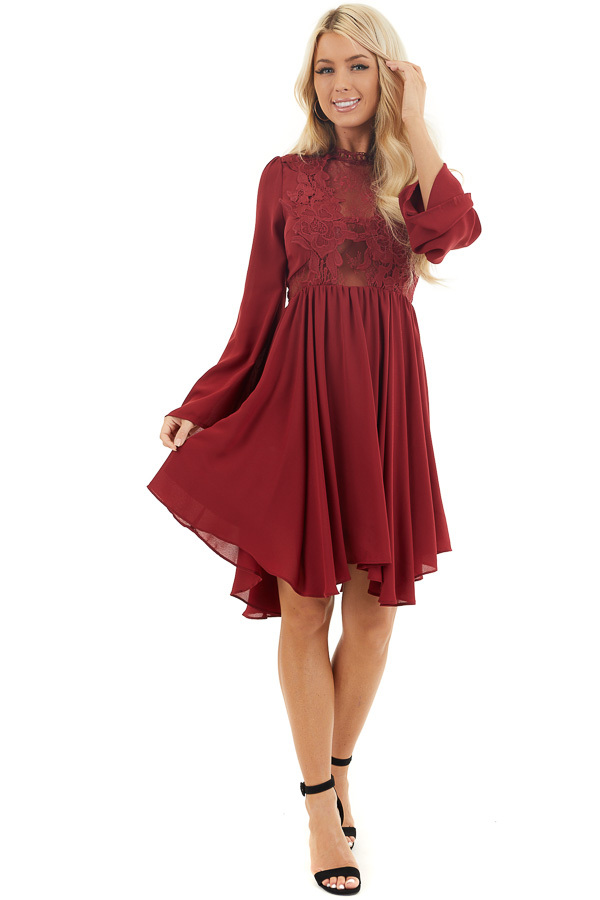 Burgundy Long Sleeve Dress with Sheer Lace Detail front full body
