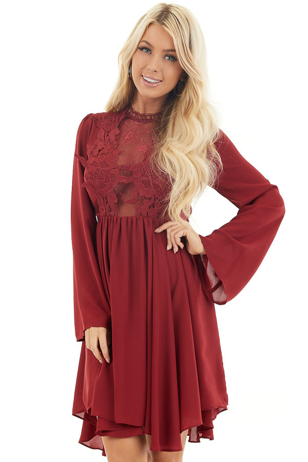 Burgundy Long Sleeve Dress with Sheer Lace Detail front close up
