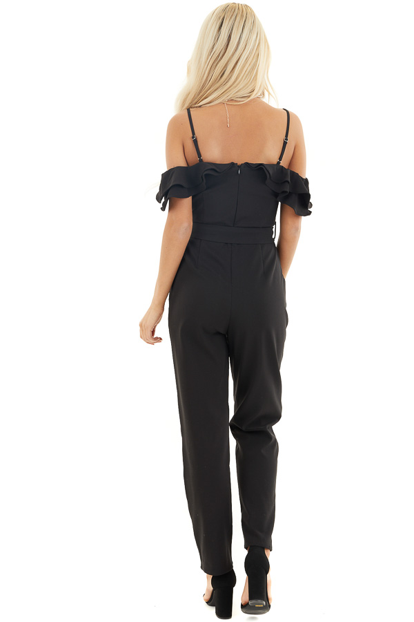 Black Cold Shoulder Jumpsuit with Waist Tie and Pockets back full body