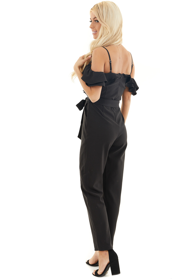 Black Cold Shoulder Jumpsuit with Waist Tie and Pockets side full body