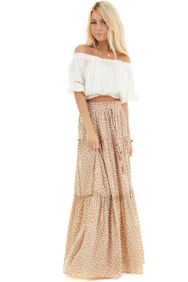 Beige and White Printed Tiered Maxi Skirt with Front Tie front full body
