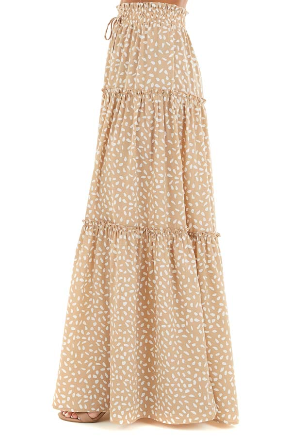 Beige and White Printed Tiered Maxi Skirt with Front Tie back view
