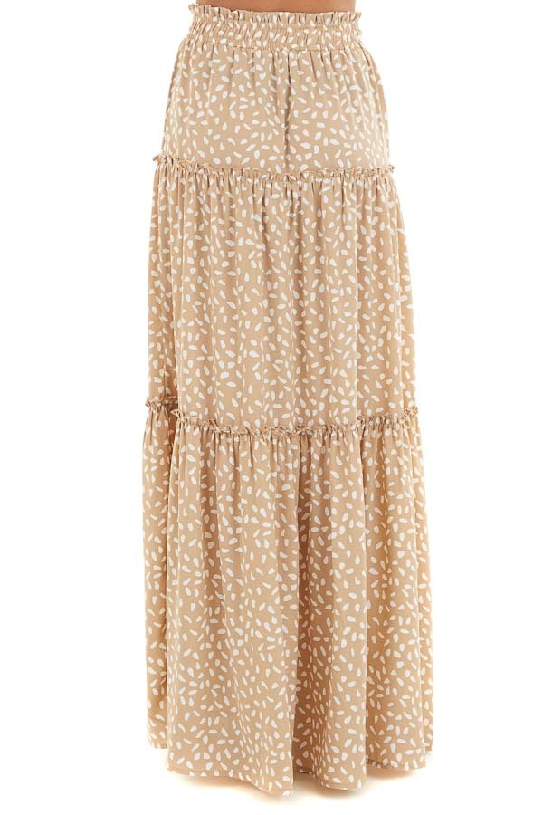 Beige and White Printed Tiered Maxi Skirt with Front Tie side view