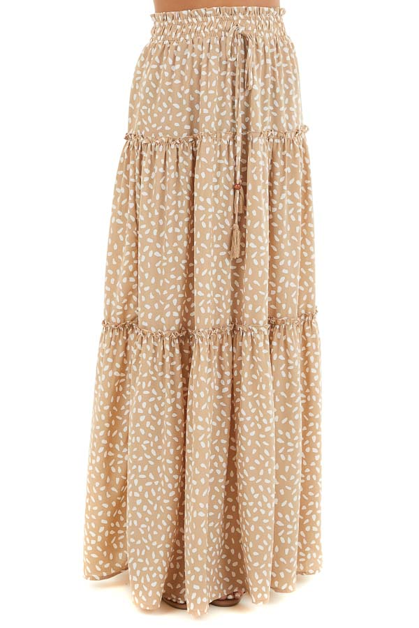 Beige and White Printed Tiered Maxi Skirt with Front Tie front view